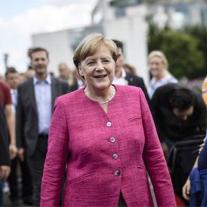 Saksan liittokansleri Angela Merkel kuvattuna Berliinissä 27. elokuuta.