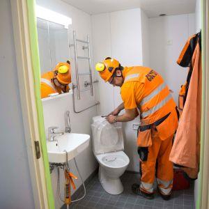 Kylpyhuoneremontti Hoasin opiskelija-asunnossa Kivikossa.