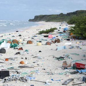 Muoviroskia rannalla Henderson Islandilla, tyyni valtameri.