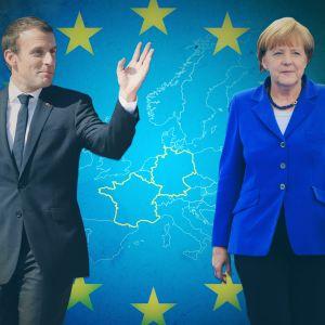Kollaasimainen kuvituskuva, etualla Macron sekä Merkel