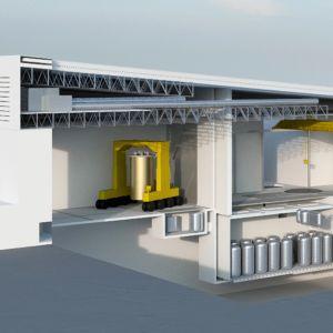 Kanadalaisen Terrestrial Energyn suunnittelema ydinvoimalaitos näyttäisi ulkoapäin teollisuuslaitokselta. Sulasuolareaktorit ovat yläkuvassa näkyviä kuparinsävyisiä lieriöitä. Havainnekuva pienreaktroista (yläkuva) ja yksityiskohta reaktorista (alakuva).