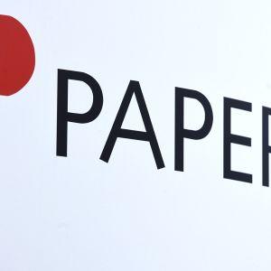 Paperiliiton logo Metallitalossa.