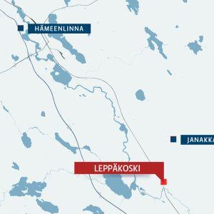 kartta jossa leppäkoski janakkala ja hämeenlinna