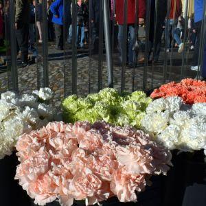 Turun puukkoiskun uhreja muistettiin kukkasin Kirjastosillalla 17. syyskuuta 2017.