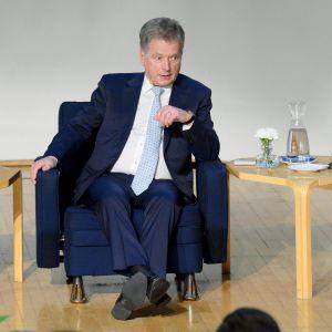 Sauli Niinistö EVA:n Presidenttifoorumissa 30. lokakuuta