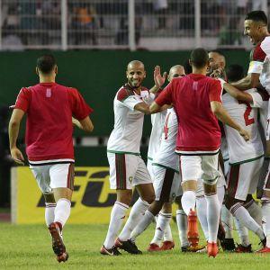 Marokon maajoukkue juhlii paikkaa jalkapallon MM-kisoissa.