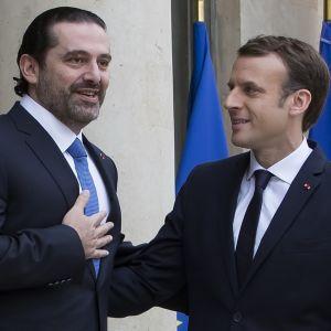 Ranskan presidentti Emmanuel Macron (oik.) vastaanotti Libanonin pääministeri Saad Haririn Pariisissa 18.11.2017.