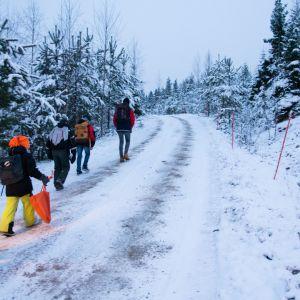 Lapsia kulkee tietä pitkin metsässä talvella.