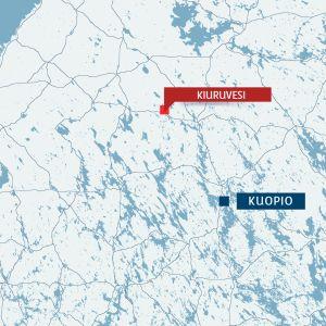 kartta jossa kuopio ja kiuruvesi