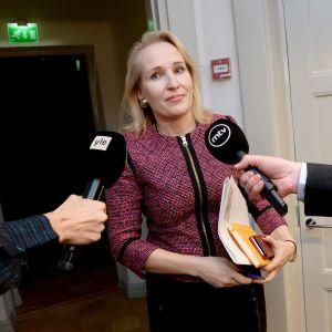 Valtakunnansovittelija Minna Helle kertoo medialle sähköalan työriidan neuvottelujen jatkumisesta Helsingissä sunnuntai-iltana 5. marraskuuta 2017.