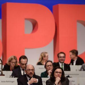 Saksan SPD:n puheenjohtaja Martin Schulz ja varapuheenjohtaja Andrea Nahles.
