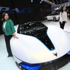 BAIC-yhtiön tuottama sähköauto Arcfox-7 Pekingin autonäyttelyssä 2016.
