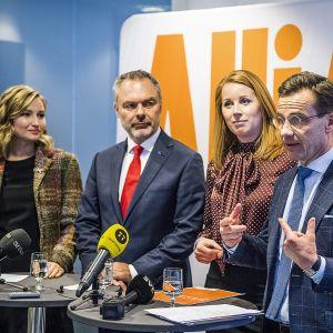 Allianssin puoluejohtajat Ebba Thor Busch, Jan Björklund, Annie Lööf  ja Ulf Kristersson.