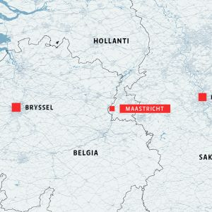 Kartta, jossa näkyvät Bryssel, Maastricht ja Köln.