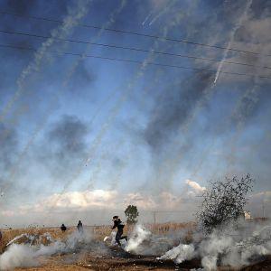 Palestiinalaiset osoittivat mieltään Gazassa.