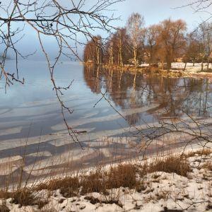 öljyä ja jäälauttoja joessa