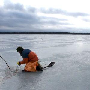Fiskare Ulf Granqvist lägger nät under isen