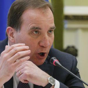 Sveriges statsminister Stefan Löfvén under en presskonferens i Kiev 11.3.2015.