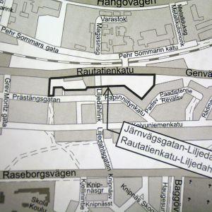Karta där området vid Järnvägsgatan-Liljedahlsgatan i Ekenäs är inritat.