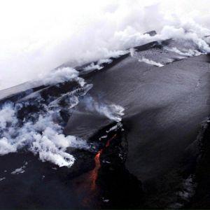 Vulkanen Heklas utbrott i februari 2000 på Island.