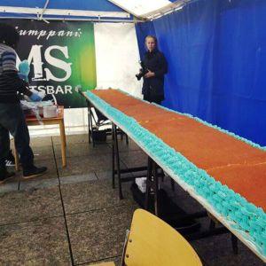 Den 25 meter långa tårtan på Konstens Natt i Vasa 2016.