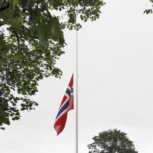 Norsk flagga på halvstång. Arkivbild.