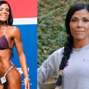 Ett montage med två bilder. På den ena syns Heidi Jormanainen på bikinifitnesscenen och till höger syns en porträttbild på henne.