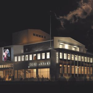 En ritning av hur Wasa Teater ska se ut efter renoveringen. Fasaden är upplyst.