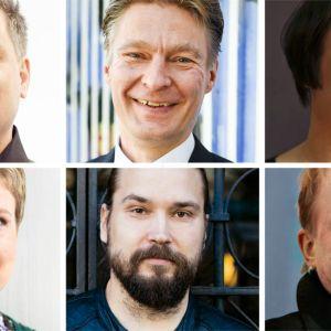 Tommi Kinnunen, Riku Korhonen, Emma Puikkonen, Sirpa Kähkönen, Jukka Viikilä och Peter Sandström.