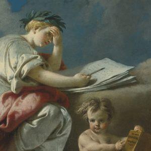 målning där ban håller i bok och poet skriver av Lucas Auger