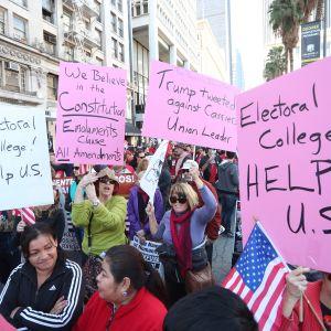 Demonstranter i Los Angeles vädjar till elektorskollegiet att inte rösta på Donald Trump.