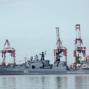 Det ryska krigsfartyget Admiral Tributs i Manila den 3 januari 2017.