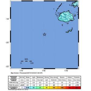 Karta över jordskalv i Fidji.