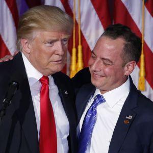 Donald Trump och  Reince Priebus under valnatten.