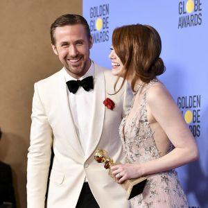 Ryan Gosling och Emma Stone vid Golden Globe -galan den 8 januari 2017.