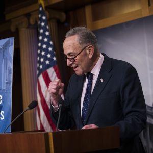 Minoritetsledaren i den amerikanska senaten Chuck Schumer talar vid ett podium.