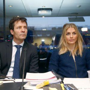 Therese Johaug och rådgivaren Christian B Hjor inför förhöret den 25 januari.