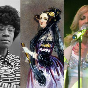 Bildcollage med fotografier på Shirley Chisholm, Ada Lovelace, Googoosh och Lili Elbe.