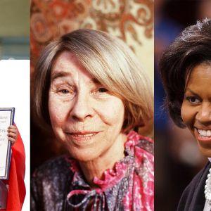 Malala Yousafzai, Tove Jansson och Michelle Obama i ett bildkollage.
