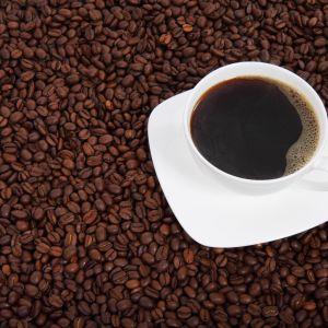 En kaffekopp med kaffe i står på en bädd med kaffebönor.