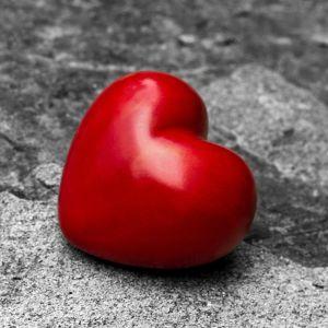 ett rött hjärta placerat på en svartvit sten
