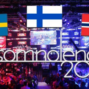 Sveriges, Norges, och Finlands flaggor ovanför Insomnolence logotyp