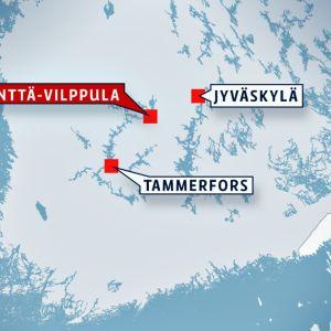 Kartan visar att Mänttä-Vilppula ligger mellan Tammerfors och Jyväskylä.