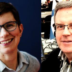 Svenska Yles korrespondenter Linda Söderlund och Bengt Östling.