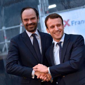 Frankrikes nya premiärminister Eduard Philipp tillsammans med Frankrikes president Emmanuel Macron, som då var finansminister, i februari 2016.