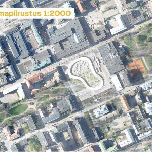 Uusi kaupunki-kollektiviets vision för Borgå torg ur fågelperspektiv.