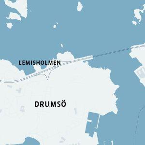 Karta som visar Lemisholmens avtag på Västerleden i Helsingfors