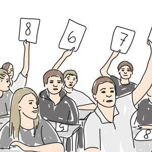 Tecknad bild där elever håller upp oilka siffervitsord.