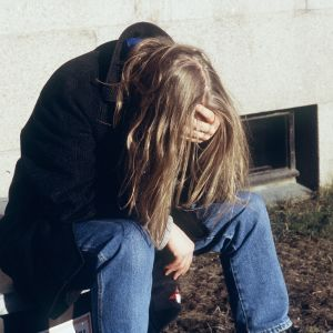 deprimerad människa
