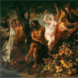 Rubensin maalaus Pythagoras puhumassa kasvissyönnin puolesta